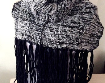 Fabric Knitting - Winter Scarf - Black Gray Scarf - Shawl Scarf -  Christmas Gift