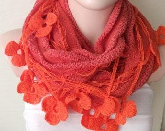 Handmade Crochet Orange Flower Lace Trimmed Loop Scarf, Infinity Knitted Fabirc Shawl