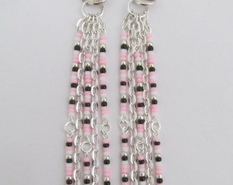 Bead & Chain Dangle Earrings - Pink