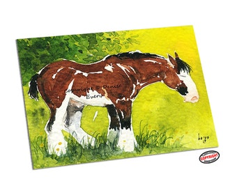Horse Art ACEO Clydesdale Draft Horse Equine Art ACEO Print ATC draught horse art horse artwork horse print aceo atc