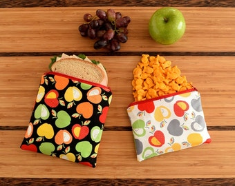APPLES - Eco Friendly Reusable Sandwich and Snack Bag Set (Zipper or Velcro)