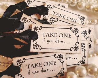 Halloween Tags, Take one tags, favour tags, halloween wedding, halloween party, party decorations, I dare you tags, black halloween