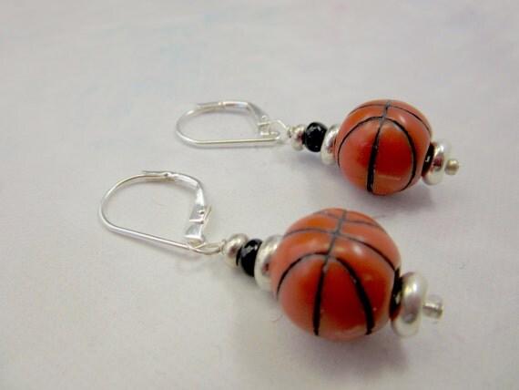 basketball earrings basketball jewelry sports by gwynstone