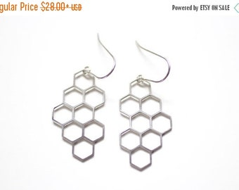 FALL SALE 30% OFF Honeycomb Cluster Earrings - Gold or Silver