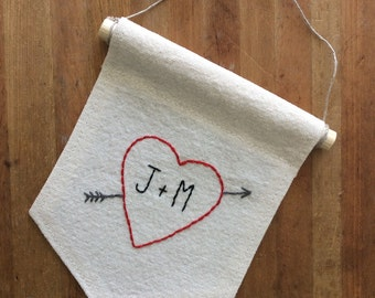 Custom Wall Pennant; Red Heart Embroidery; Stitched Text; Initial Gift; Wall Decor; Typography Art; Hand Lettering; Custom Gift for Couple