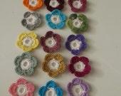 Crochet flowers,Crochet Applique Flowers ,15pcs,blue,white,yellow,brown,green,red,purple,orange