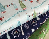 SALE fabric, Christmas fabric, Holiday, Bottle Brush Tree, Christmas Stockings, Fabric by the Yard- Fabric Bundle of 3, Choose The Cut