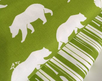 Organic fabric, Bear Camp fabric bundle by Birch Fabrics, Bear fabric, Green fabric, Boy fabric, Nursery, Bundle of 2- You Choose the Cut