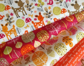 Owl Fabric, Deer Fabric, Tree fabric, Bird fabric, Acorn Forest fabric bundle by Robert Kaufman, Bundle of 5 fabrics, You Choose the Cut