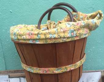 VINTAGE PURSE...handy wood basket made into needlepoint knitting craft supplies ~ small handbag ~ boho