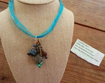 pendant necklace handmade with bohemian gypsy chic one of a kind dangling charms