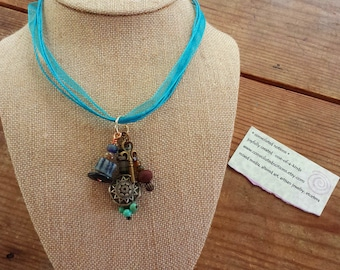 pendant jewelry charm necklace handmade with bohemian gypsy chic upcycled key stone metal wood glass clay India trade bead dangles
