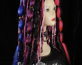 Hair falls dark Rainbow crazy fairy gothic belly dance cyber goth rave club punk wear vampire synthetic -Ready to Ship - Sisters of the Moon