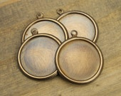 18mm - 4 pcs - Brass Bezel Cup Charms - Round Hand Antiqued - Patina Queen