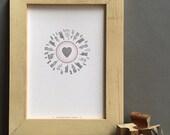 Manicule Heart letterpress PRINT - pink