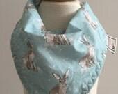 hare day in aspen  ~ bandana bib ~ drool bib ~ cottontail collection ~ hawthorne threads ~  ~ bunny bandana bib from lillybelle designs