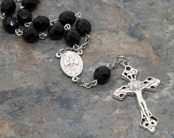 Czech Glass Car Rosary in Jet Black, 1 Decade Chaplet