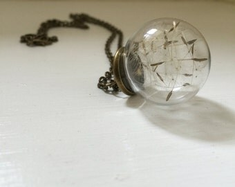 Dandelion clocks wishes fairies kisses glass sphere globe necklace