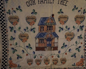 Our Family Tree Wamsutta  Hearts Leaves History Genealogy Fabric Panel