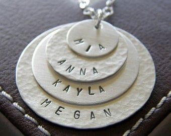 Personalized Charm Layering Necklace - Hand Stamped Sterling Silver - Textured, Four Layered Necklace with Optional Birthstones or Pearls