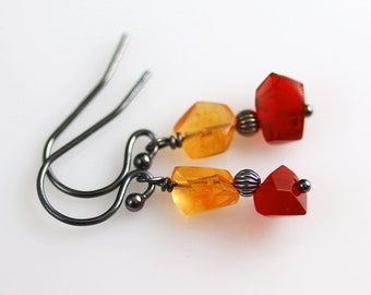 Mexican Fire Opal Earrings - Oxidized Sterling - Fire Opal Earrings - Yellow Red