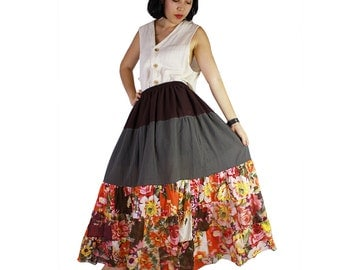 Boho hippie floral India cotton patchwork  long skirt (PW 03)