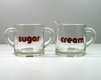 1970's Heavy Glass Cream and Sugar Set Font Typographic Brown Lettering