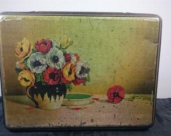 Vintage Poppy Flower Tin Metal Biscuit or Cookie Box 1930's