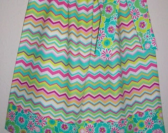 Pillowcase Dress Chevron Dress with Flowers Girls Dresses with Chevron Pretty Dresses Sister Dresses Coordinating Dresses Girls Outfit