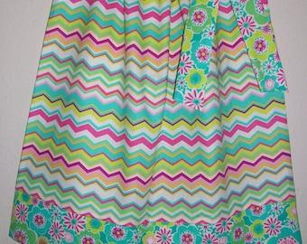SUMMER SALE Pillowcase Dress Chevron Dress with Flowers Girls Dresses with Chevron Summer Dresses Sister Dresses Coordinating Dresses
