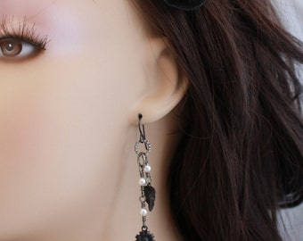 Niobium earrings, black Niobium, long and lightweight Vintaj Arte Metal