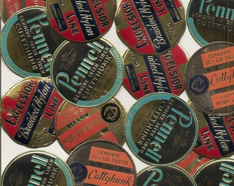 25 Vintage Fishing Line Spool Labels