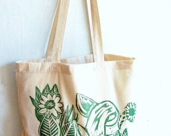Fox hand stamped cotton canvas tote bag emerald green