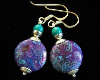 RARE Mohave Purple Turquoise earrings Sterling Silver, Mojave Sleeping Beauty 925, ethnic boho rustic, Arizona blue specks, PinkOwlJewelry