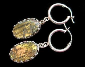 Rough Labradorite earrings Sterling silver hoops rustic raw natural stone gemstone jewelry golden fire, tribal boho hoop everyday earrings
