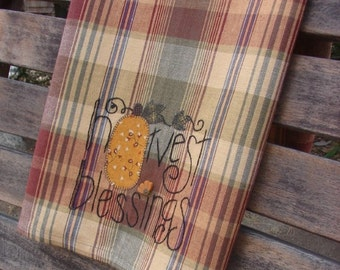 Blessings Tea Towel | Harvest Blessings Towel | Thanksgiving Decor | Hand Embroidery  | Holiday Decor | Gold Blue Burgundy | Plaid Tea Towel