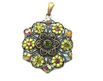 Metal flower pendant supply 42mm