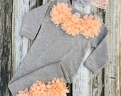 Baby Girl Coming Home Outfit, Hospital Gown, Bodysuit, Grey and Peach, Chiffon Flower Headband