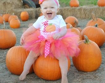 Baby Girl 1st Birthday Tutu Outfit - Pumpkin 1st Birthday Tutu - Girl Birthday Dress - Hot Pink and Orange