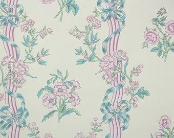 1950s Vintage Wallpaper by the Yard - Floral Vintage Wallpaper with Lavender Purple Flowers and Blue Ribbons and Bows
