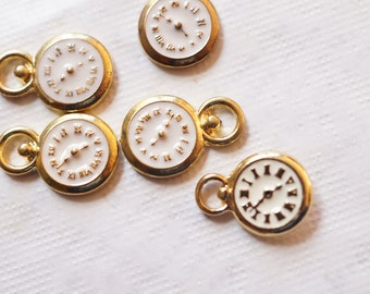 6 x Gold Plated and White Watch Charm Pendant
