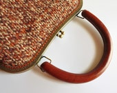 City Terracotta Branda Handbag, Knitted Clutch, Cute Metal Frame Kiss Lock Purse, Tweed Brown Wool Top Handle Handmade - Reserved for Katya