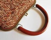 City Terracotta Branda Handbag, Knitted Clutch, Cute Metal Frame Kiss Lock Purse, Tweed Brown Wool Top Handle Handmade - Reserved for Katya