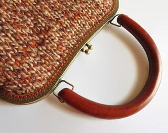 Branda Handbag, Knitted Clutch, Cute Purse, Kiss Lock Purse, Metal Frame Purse, City Handbag, Terracotta Handbag, Tweed Brown Wool