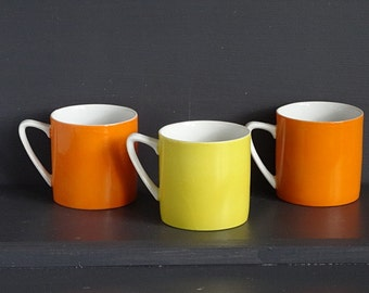 Set Orange Yellow Mugs/ 3 Porcelain Cups 1960s - 1970s