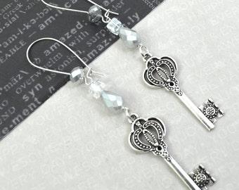 SECRETS- Silver Charm Crystal Earrings