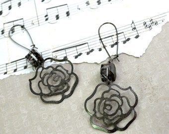 IRON CLAD ROSE-Rose Crystal Charm Earrings