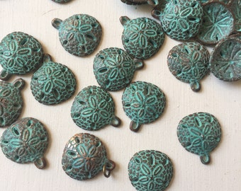 20mm Verdigris Copper Sand Dollar Charms Set of 4