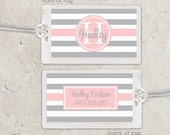 Laminated Bag Tag - Striped Bag Tag Luggage Tag - pink and grey or choose any color - girls bag tag