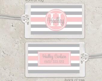 Laminated Bag Tag - Striped Bag Tag Luggage Tag - pink and grey or choose any color - girls bag tag